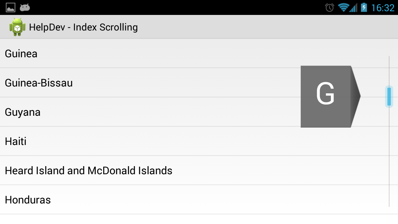 fast Index Scrolling